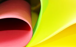颜色泡沫橡胶板卷曲线  图库摄影