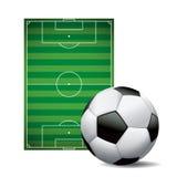 Футбол футбольного мяча и изолированная полем иллюстрация Стоковые Изображения