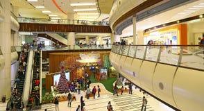 海方形的购物中心圣诞节装饰,香港 图库摄影
