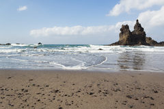 使有岩石的全景靠岸在水,蓝天中 免版税库存图片