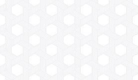 与被加点的填充模式传染媒介的无缝的微妙的灰色六角等量欧普艺术旋转的星 免版税库存图片
