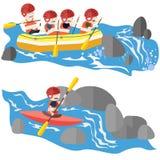 漂流和划皮船 免版税库存图片