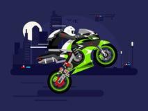 Высокоскоростные езды мотоцикла на одном колесе Стоковые Изображения RF
