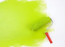 Зеленый ролик краски Стоковые Изображения RF