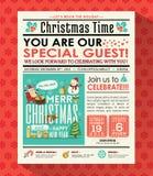 圣诞晚会海报邀请在报纸样式的背景 免版税库存照片