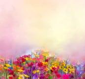 抽象派夏天春天花油画  草甸,与野花的风景 库存图片