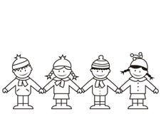 Παιδιά και χειμερινά ενδύματα, χρωματισμός Στοκ φωτογραφίες με δικαίωμα ελεύθερης χρήσης