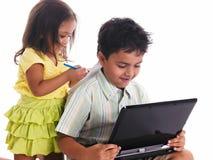 азиатский изучать малышей Стоковые Фото