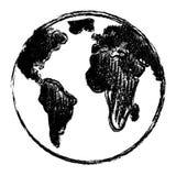 手拉的地球传染媒介剪影乱画 免版税库存照片
