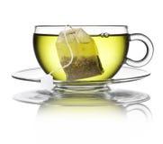 绿色清凉茶袋子杯 库存图片