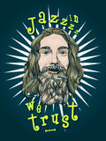 Шаблон плаката или футболки с бородатым портретом человека Стоковые Изображения RF