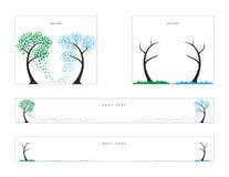 美元和欧元,秋天的树 网横幅的传染媒介例证 免版税库存图片