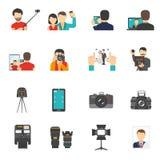 Установленные иконы съемки Стоковое фото RF