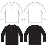 Μαύρο άσπρο μακρύ πρότυπο σχεδίου πουκάμισων πόλο μανικιών Στοκ φωτογραφίες με δικαίωμα ελεύθερης χρήσης