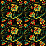 Флористическая безшовная картина в русском стиле традиции Стоковые Изображения