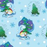 传染媒介逗人喜爱的雪人在无缝的圣诞树下 免版税库存图片