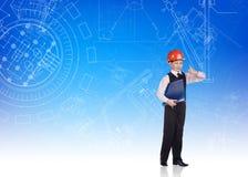 逗人喜爱的小男孩工程师 免版税库存图片