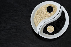 以尹杨标志的形式芝麻籽 免版税图库摄影