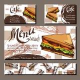 Επιλογές καφέδων με συρμένο το χέρι σχέδιο Πρότυπο επιλογών εστιατορίων γρήγορου φαγητού με το σάντουιτς Σύνολο καρτών για την ετ Στοκ Εικόνες
