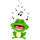 愉快青蛙动画片唱歌 免版税库存照片