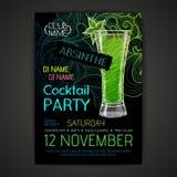 Плакат партии коктеиля диско Стоковое Изображение RF