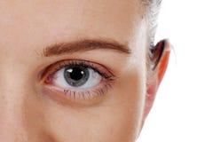 与长的鞭子的特写镜头美丽的妇女眼睛 免版税库存图片