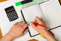 Χέρι που κάνει τις σημειώσεις σε ένα σημειωματάριο Στοκ φωτογραφία με δικαίωμα ελεύθερης χρήσης