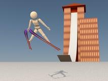 美丽的跳跃的飞行滑雪者 库存图片