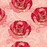与玫瑰色花的无缝的样式在红色和在桃红色背景的被加点的卷毛 免版税库存照片