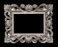Εκλεκτής ποιότητας ασημένιο μπαρόκ πλαίσιο εικόνων ύφους που απομονώνεται πέρα από το Μαύρο Στοκ φωτογραφία με δικαίωμα ελεύθερης χρήσης