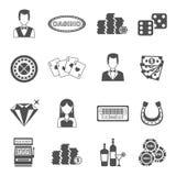 Установленные значки казино черные белые Стоковое Изображение RF