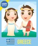 希腊语逗人喜爱的夫妇玩偶  免版税库存图片
