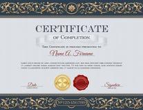 Сертификат завершения Винтаж Флористическая рамка, орнаменты Стоковое фото RF