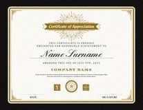 Винтажный ретро шаблон предпосылки сертификата рамки стиля Арт Деко Стоковая Фотография