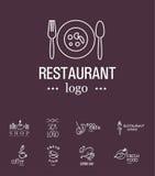 传染媒介套餐馆商标设计模板 免版税库存图片