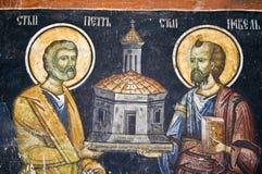 教会正统绘画墙壁 免版税库存照片