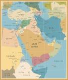 Χάρτης της Μέσης Ανατολής και της δυτικής Ασίας Στοκ Φωτογραφίες