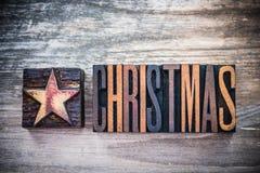 葡萄酒圣诞节活版 免版税库存照片