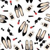 Безшовная картина аксессуаров моды Стоковое фото RF