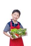 有新鲜蔬菜的男孩 免版税库存照片