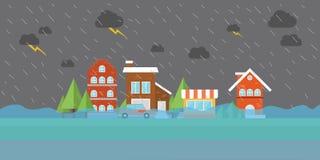 城市洪水洪水在街道大厦商店房子里 免版税图库摄影
