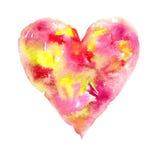 愉快的情人节!水彩绘了心脏,您可爱的设计的元素 您的卡片或海报的水彩例证 库存照片