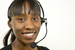 非洲裔美国人的客户有代表性的技术支持 免版税库存照片