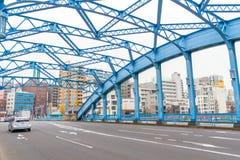 在蓝色桥梁隅田川的看法 图库摄影