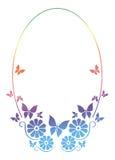 Круглая орнаментальная рамка с бабочкой Стоковая Фотография