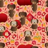 狗年黄道带中国无缝的样式 免版税库存照片