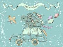葡萄酒与老汽车的生日快乐卡片 免版税库存照片