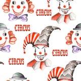 与水彩马戏元素的一个无缝的样式:小丑和丑角 绘在白色背景 免版税库存照片