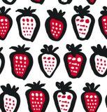 无缝的黑色,白色和红色对比背景用莓果 传染媒介织品纹理 装饰图画样式 免版税库存图片