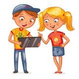看片剂个人计算机计算机的孩子 库存照片
